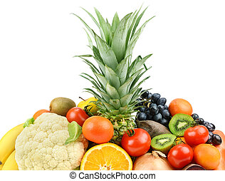 fruits and vegetables  on white background