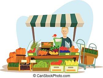 Fruits and vegetables seller man character. Vector flat cartoon illustration