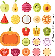 Fruits and vegetables slices set