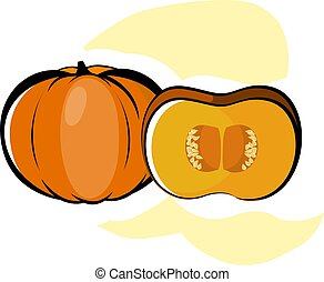 Fruits And Vegetables - Illustration of one and half pumpkin...