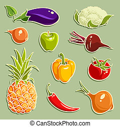 Fruits and Vegetables vector set 2