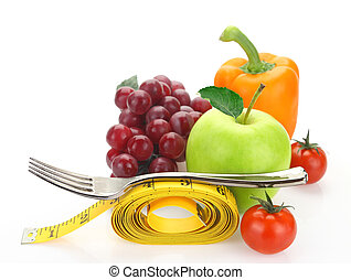 Fruits and vegetables with a measure tape isolated on white