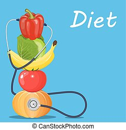 fruits and vegetables with a stethoscope.