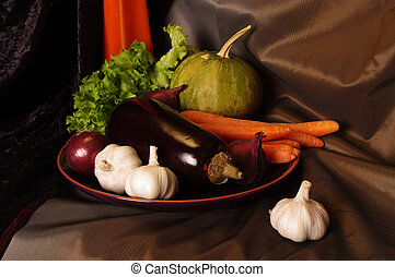 Fruits and vegetables with pumpkins