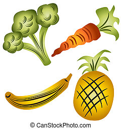 Fruits and Veggies - An image of broccoli, carrot, banana...