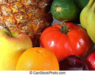 fruits and veggies # - fruit and veggies background, shallow...