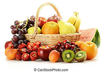 Fruits and wicker basket - Composition with variety of ...