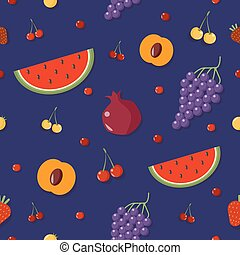 Fruits Background. Berries Seamless Pattern. Vector illustration