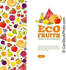 fruits background template. fresh healthy food apples