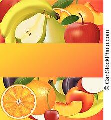 Fruits background with orange banner