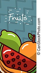 fruits banners fresh and natural nutrition