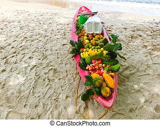 fruits, bateau, exotique
