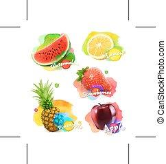 fruits, bayas, ilustración