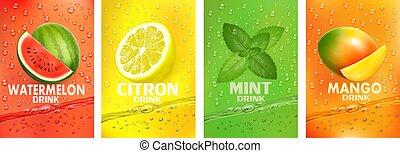 fruits, bebida, together-, conjunto, jugo, salpicar, mango, fruta, drink., menta, fresco, cidra, vector., sandía, splashing., etiquetas