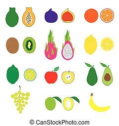 Fruits Big Set. Flat Vector Illustration. Organic food, nutrition, vegetarian, vegan. Fruit icons for your design