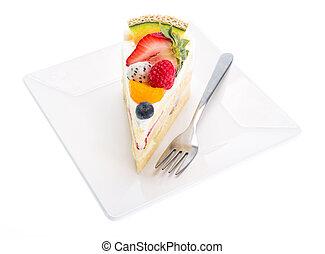 fruits cake isolated on white background