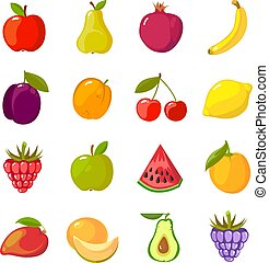 fruits cartoon set. fresh healthy food apples