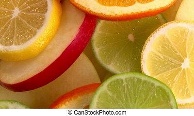 Fruits, closeup, rotate, loop
