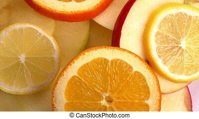 Fruits, closeup, rotate