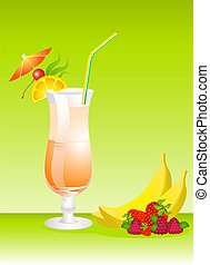 Fruits cocktail with fruits