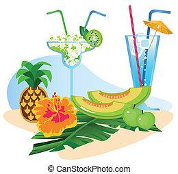 fruits, cocktails