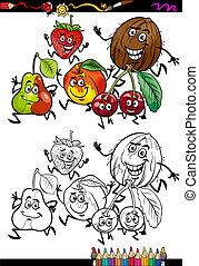 fruits, coloration, groupe, dessin animé, page