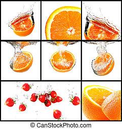 fruits, con, agua, salpicadura, conjunto
