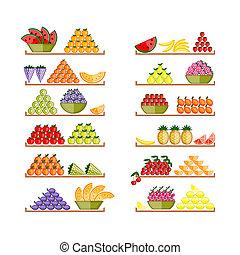 fruits, conception, ton, étagères