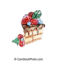 fruits, coupez graphique, chocolat