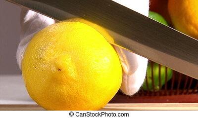 Fruits, cut lemon and orange