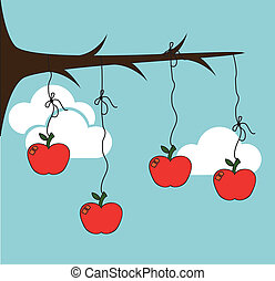 Fruits design over cloudscape background, vector...