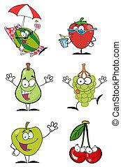 fruits, dessin animé, rigolote, caractère