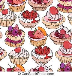 fruits, doux, modèle, cream., interminable, baies, seamless, brun, patisserie, blanc, petits gâteaux, arrière-plan., desserts., color., rose, modèle, rouges