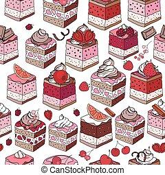 fruits, doux, modèle, cream., interminable, chocolat, seamless, baies, brun, patisserie, blanc, arrière-plan., desserts., color., rose, modèle, rouges