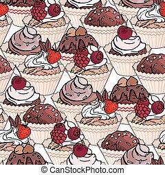 fruits, doux, modèle, cream., interminable, chocolat, seamless, baies, brun, petits gâteaux, blanc, arrière-plan., color., desserts., patisserie, rose, modèle, rouges