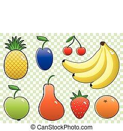 fruits, ensemble, coloré, vecteur