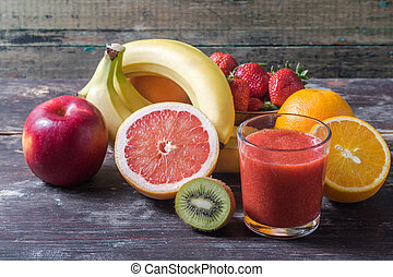 fruits, et, baie, smoothie