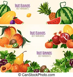 Fruits exotic and garden vector banners set