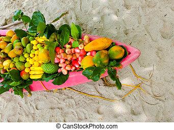fruits, exotique, bateau