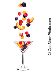 fruits fall in glass on white background