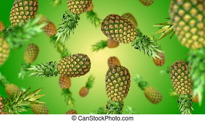 Fruits falling down - Pineapples falling down on green...