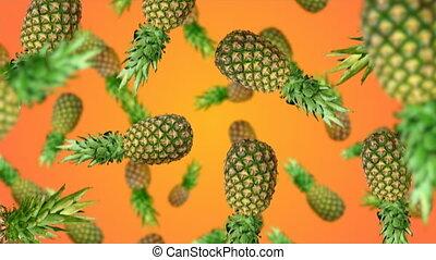 Fruits falling down - Pineapples falling down on orenge...
