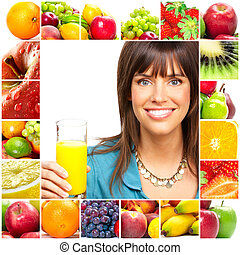 fruits, femme