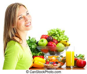 fruits, femme, vegetables., jeune