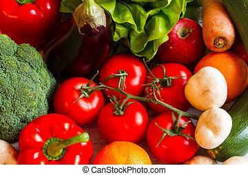 fruits, fond, légumes