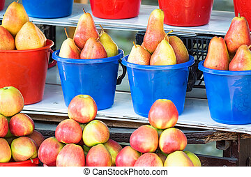 Fruits for sale on market harvest concept
