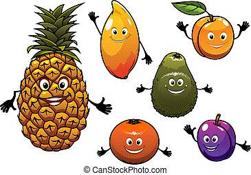 fruits, frais, dessin animé, ensemble
