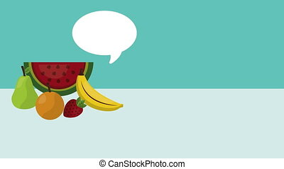 fruits fresh and speech bubble ,4k video animation