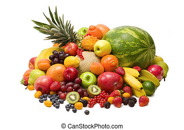 Fruits - Fresh colorful fruits isolated on white background