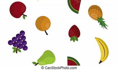 fruits fresh healthy food animation - fruits fresh healthy...